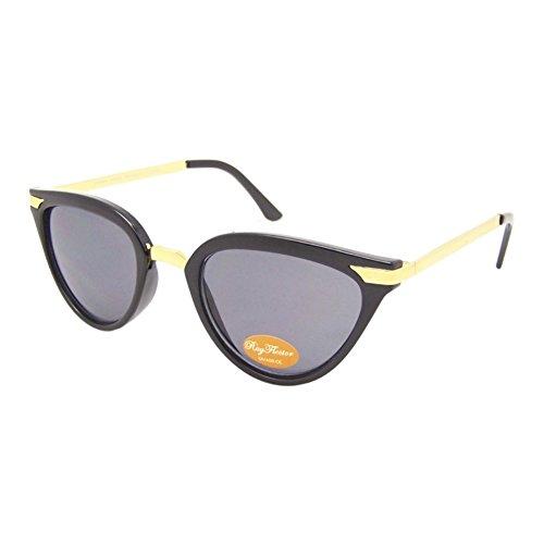 Chic-Net Lunettes de Soleil Dames millésime 400UV Cat Eye métal doré teinté Gris Tabby