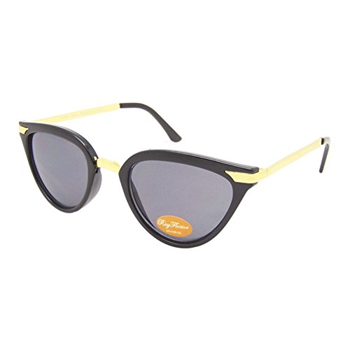 Chic-Net Gafas de Sol de Las señoras de la Vendimia Tintado 400UV Ojo de Gato de Metal Dorado Gris atigrado