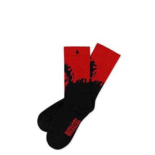 ROCKASOX Crimson Beast Lo   Socken Weiß, Roter brennender Schädel und Flammen   knöchelhoch   Unisex Strümpfe Größe S (35-38)