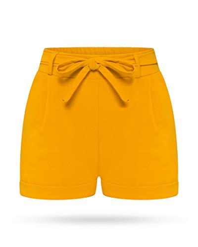 Kendindza Damen Sommer Shorts | Kurze Hose mit Schleife zum binden | Bermuda | Uni-Farben (L/XL, Senf)