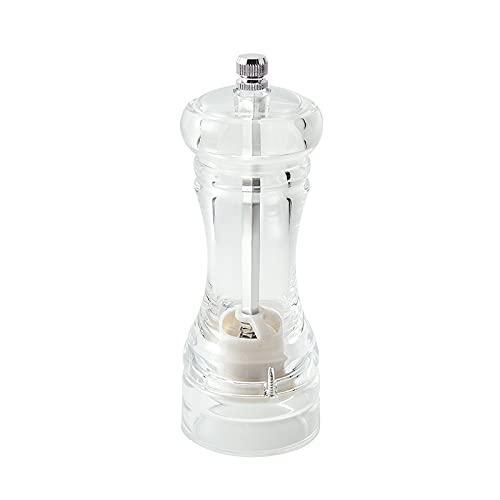 XIAOJUN Molinillo de Pimienta Transparente acrílico Manual, Molinillo de Pimienta y Sal, Molinillo de Pimienta Ajustable Molinillo de Especias para Uso Profesional y doméstico en la Cocina