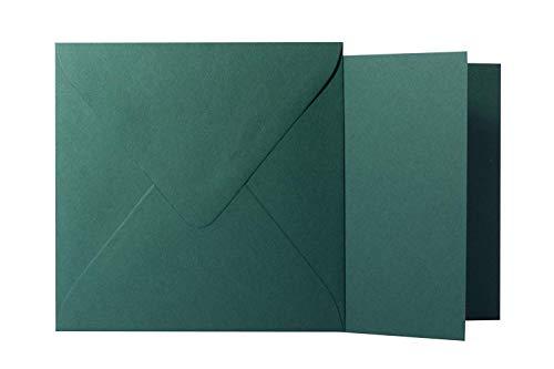 Paper24 - Sobres (100 unidades, formato cuadrado, 120 g, 17 x 17 cm, con solapa triangular, sin ventana), color verde abeto
