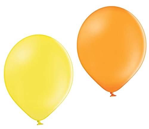 Ballonheld 50 Bio Luftballons je 25 gelb & orange Qualitätsballons 27 cm Ø (Standardgröße B85) biologisch abbaubar, heliumgeeignet Dekoballons