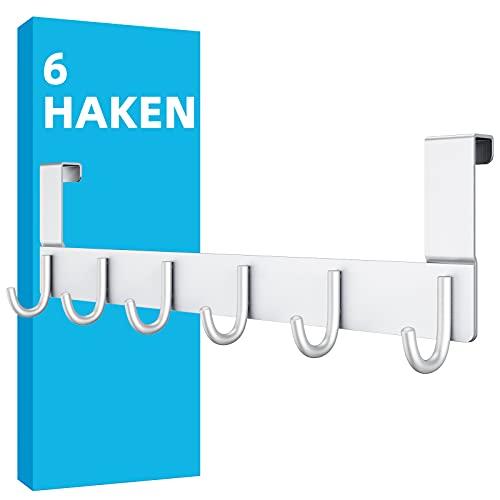 DeYoun Türgarderobe mit 6 Haken - Türhakenleiste für Tür bis 2cm Türfalz - Türhaken zum Einhängen für Küche Flur Bad Wohnzimmer Schlafzimmer - Kleiderhaken Tür ohne Bohren - Aufhänger für Tür