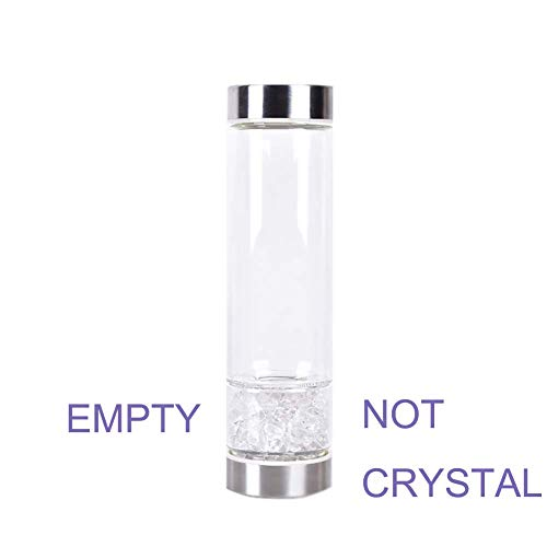 X-creative Empty Crystal Elixir Water Bottle Shatter Resistant Glass Gemstone Water Bottle for Making Gemwate with Stainless Steel Lips for Infused Gemstone