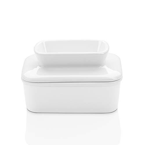Butterdose Sweese Porzellan mit Wasser - Französische Butterdose - Perfekt für Ostküste Butter - Ausziehbar ohne Kühlung, weiß West size