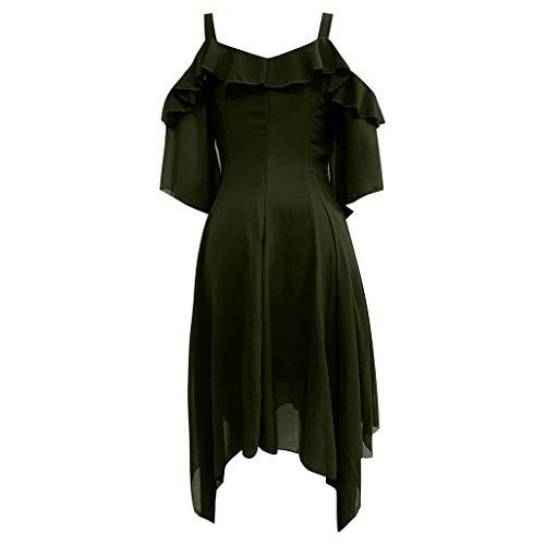 iCerber Damen Vintage Kleid Langarm Elegant Sexy Gothic Schickes Off Shoulder Kleider Mit Button Und Taschen Mode dunkel verliebt Rüschen Ärmel Schulterfrei Gothic Midi-Kleid (M,Grün)