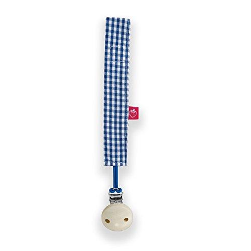La fraise rouge 4251005601389 Alain Attache Sucette avec attache sucette, bleu/blanc Vichy