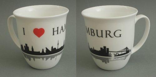 Buddel-Bini Hamburg Becher I Love Hamburg Skyline Souvenir Kaffeebecher Teebecher