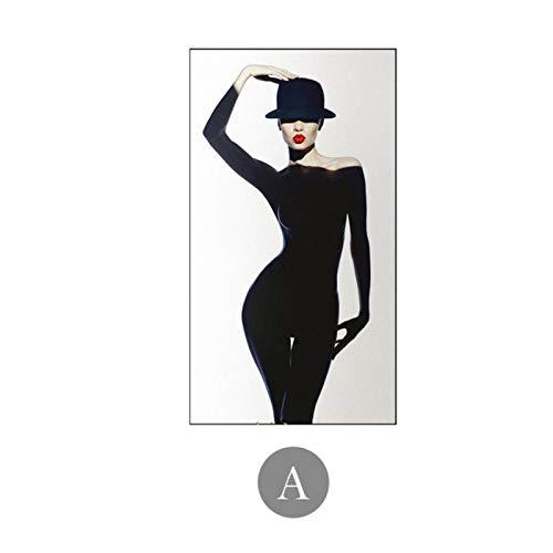 MULMF Moderne Wunderschöne Frau, Die Schwarzes Kleid Leinwandgemälde Sex Model Poster Und Drucke Kunst Bilder Für Wohnzimmer-40X70Cm Ohne Rahmen Trägt