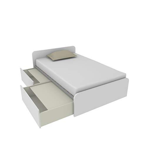 MOBILFINO CAMERETTE 864C Bett 120 x 190 cm mit zwei unabhängigen Schubladen mit Rollen und geschlossen mit Deckel, Netz inklusive, Höhe und geprüfte Seite, hergestellt in Italien, Weiß