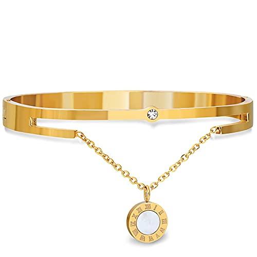 Pulsera ZIYUYANG, pulsera de la suerte de acero inoxidable con cristal rosa / dorado para mujer, oro