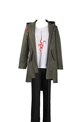 Cosplayfly Super Danganronpa 2 Nagito Komaeda Cosplay Kostüm Einschließlich ArmeeJacke,Strickwaren und Hosen,Grün Männlich S