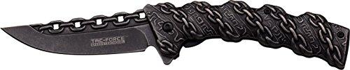 TAC Force TF-859 Spring Assist Folding Knife, Black Blade, Black Handle, 4.75-Inch Closed