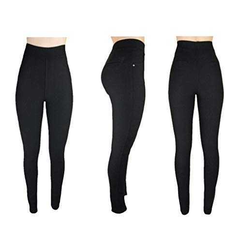 Trendcool. Leggins Mujer Vestir Negro. Pantalones Mujer Elegantes. Leggins Mujer Negros. Cómodos Leggins para Mujer Largos. (Negro, M/L)