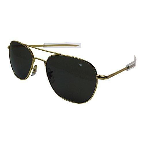 American Optics Flight Gear Original Pilot Sunglass, 57-mm Gold Frame with Bayonet Temples, True Color Grey Glass Lens
