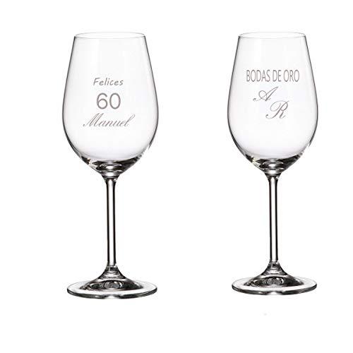 Curia Grabador Copas de Vino Personalizadas con el Texto Que Quieras. Juego de Dos Copas: Amazon.es: Hogar