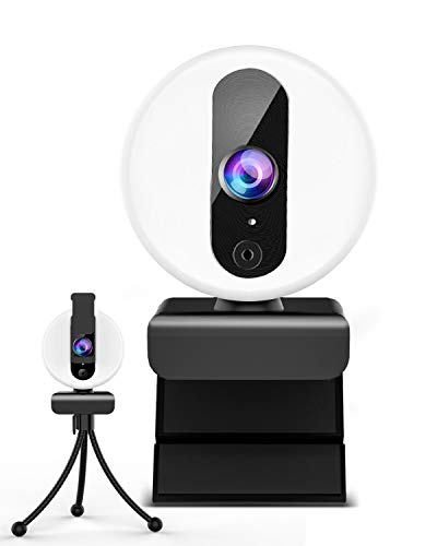 Webcam con Microfono para PC y Anillo de Luz, OVIFM Webcam HD 2K con Trípode y Cover para PC/Mac/Ordenador Portatil/Sobremesa, Camara Web para Youtube, Skype, Zoom, Xbox One, PS4 y Videoconferencia