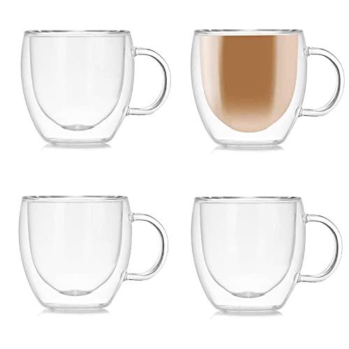Juego de 4 tazas de café de cristal de doble pared con asa, tazas de cristal de doble pared para café de expreso, latte, capuchinos (150 ml)