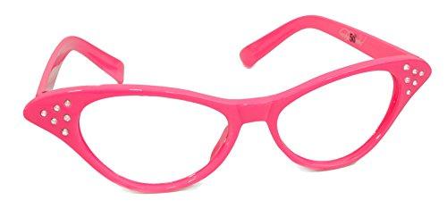 Hip Hop 50s Shop Womens Cat Eye Rhinestone Glasses, Hot Pink