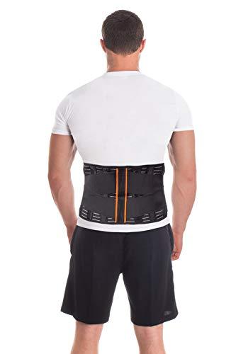 Rückenstützgürtel Rückengurt mit Stabilisierungsstäben zur Schmerzreduktion und Haltungskorrektur verstellbare Rückenstütze für Damen und Herren mit 4 Rippensteifen Höhe 24 cm X-Large Schwarz