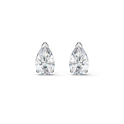 Swarovski Attract Pear Ohrstecker, Weiße und Rhodinierte Ohrringe mit Funkelnden Swarovski Kristallen