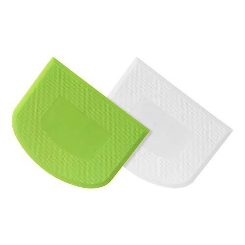 TONVER Raspador de Masa de Plástico, 2 Piezas Espátulas Reposteria para Alisar la Crema de Mantequilla para Hornear Pasteles de Pan Para Panaderos Profesionales Principiantes