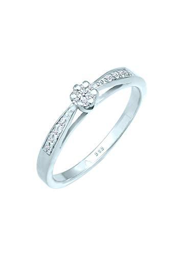 DIAMORE Ring Damen Verlobung mit Diamant (0.16 ct.) Blume in 585 Gelbgold