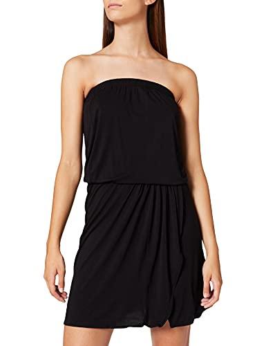 Urban Classics Damska sukienka z wiskozy, szorty, bandeau, luźna sukienka, czarny, XL