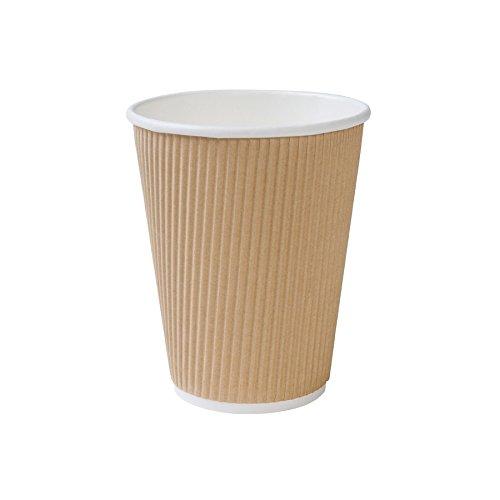 BIOZOYG 500 Stück Riffelbecher to Go Pappbecher aus braunem Kraftkarton I Umweltfreundliche Kaffee Trinkbecher Einweg Bio unbedruckt 300 ml / 12 oz I 100% biologisch abbaubar, kompostierbar