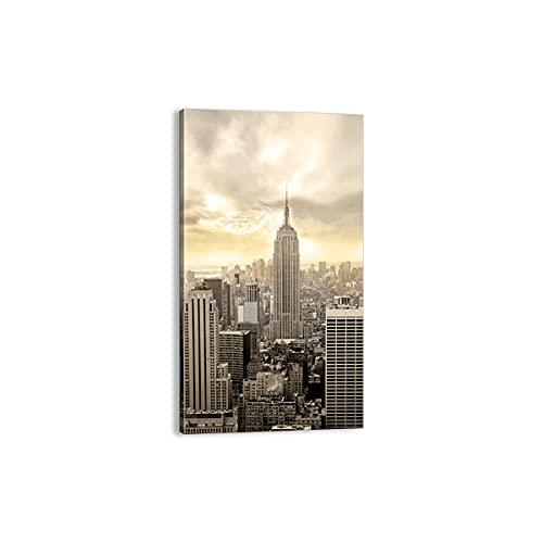 Quadro su tela - Elemento unico - Città Grattacieli Manhattan New York - 45x80cm - Pronto da appendere - Home Decor - Stampe su Tela - Quadri Moderni - completamente incorniciato - PA45x80-2630