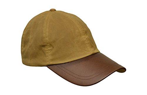 Walker and Hawkes Unisex Baseball-Kappe aus gewachster Baumwolle - Schirm aus Leder - Einheitsgröße Beige