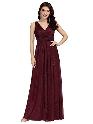 Ever-Pretty Damen Abendkleid A-Linie V-Ausschnitt Ärmellos Hohe Taille lang Burgund 42
