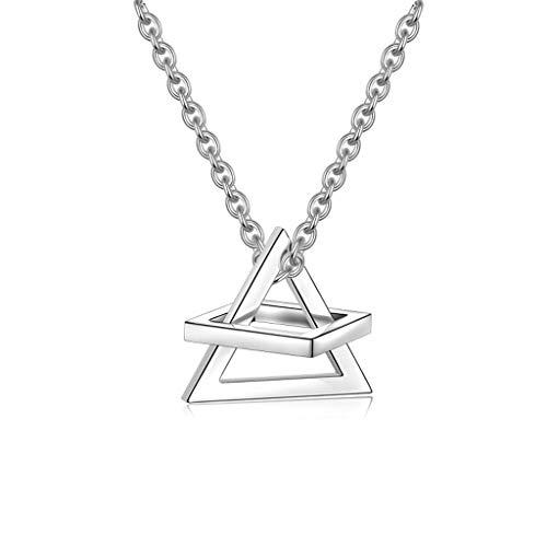 Colgante triángulo cuadrado tridimensional de acero inoxidable, geométrico, collar apilable, en tres dimensiones, joyas minimalistas unisex, la primera elección para regalos de banquete.