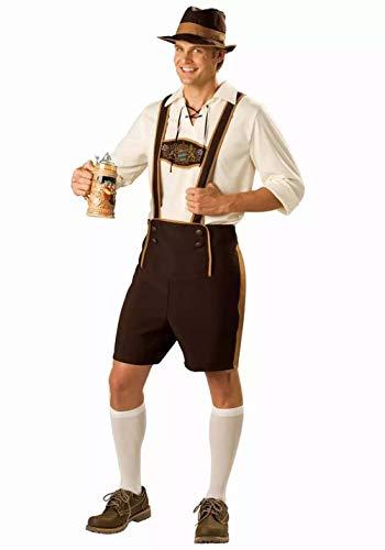 Herren Bayerischer Herr Kostüm Kurze traditionelle Lederhose mit Hosenträgern T-Shirts Oberteil und Hut Fancy Drinker Oktoberfest Tracht