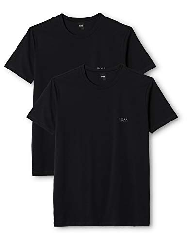 BOSS Hugo Boss T-Shirt RN 2P CO/EL, T-shirt Uomo, Nero (Black), Large