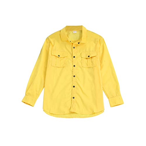 Spring Shirt Men Military Casual Loose Men's Splicing Summer Fashion Tooling Multi Pocket Long Sleeved Shirt,Yellow,XL