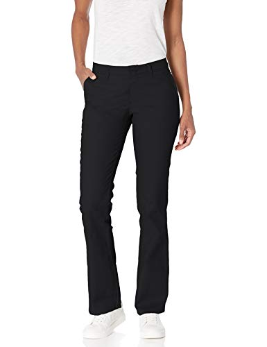 Dickies Women's Flat Front Stretch Twill Pant Slim Fit Bootcut, Black, 8