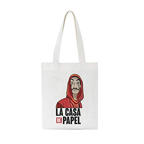 Bolsa de compras con impresión de letras grandes de lona para el hombro, bolso para mujer (color: 3035)