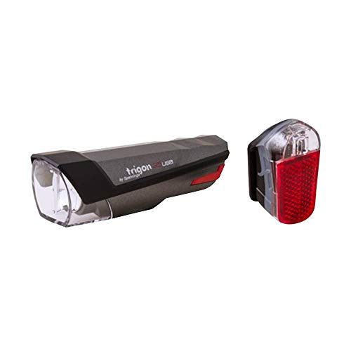 Jos Beleuchtung Fahrrad USB Satz Spanninga Trigon 25-pyro Grau Dunkel - 3 Funktionen Eco, Standard und Boost