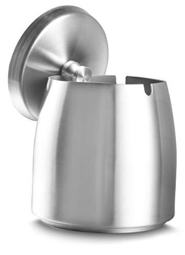 Popielniczka ze stali nierdzewnej z pokrywką, blat stołu, przenośna popielniczka z antypoślizgową podstawą, do zastosowania na zewnątrz i wewnątrz, kolor srebrny