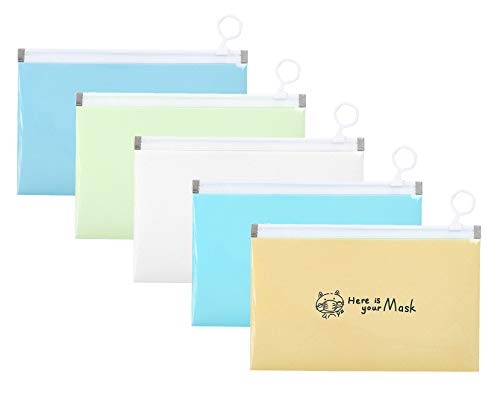 CYJZHEU Tragbare Masken Aufbewahrungstasche, 5 Stück Etui für Maske Aufbewahrungsbox für Staubmasken Wasserdicht Tragbare Plastik-Gesichtsschutztasche zum Schutz von Kindern und Erwachsenen