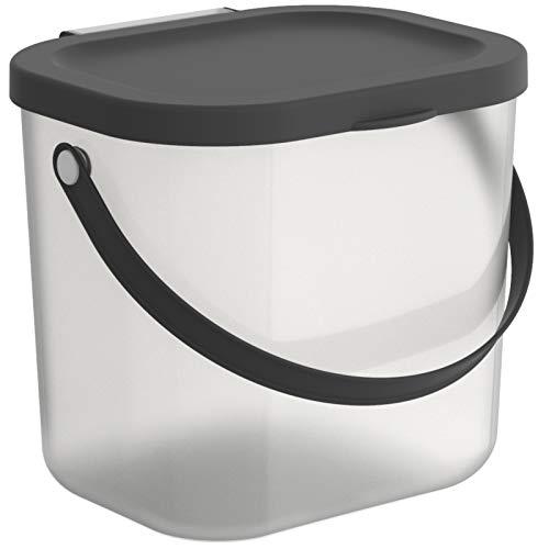 Rotho Albula Aufbewahrungsbox Deckel, Kunststoff (PP recycelt), transparent/anthrazit, 6l, (23,5 x 20 x 20,8 cm)