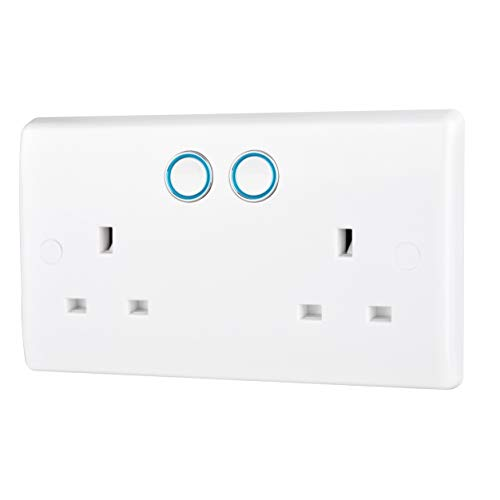 BG Electrical 822/HC-01 Smart Power Socket, Alexa Compatible Double 13 Amp, White Moulded