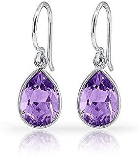 6.00 CTW Pear-Shaped Amethyst Drop Earrings in Sterling Silver