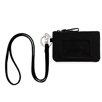 DONGGANGAJI Classic Black Lanyard with Zip ID Case Fashion Lanyard Wallet ID Case Wallet with Lanyard,lanyards with wallet Black-C