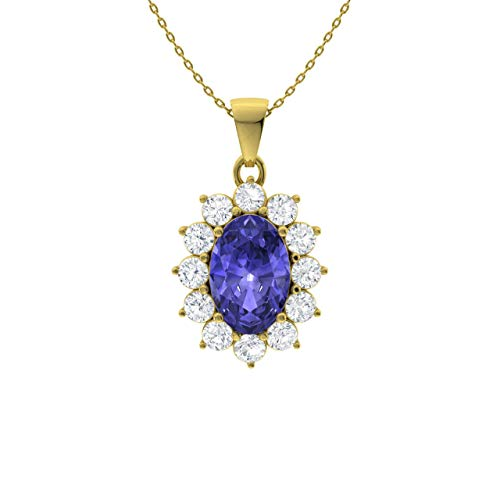 Diamondere Natural and Certified Oval Tanzanite and Diamond Halo Petite Necklace in 9ct Yellow Gold | 0.73 Carat Pendant with Chain
