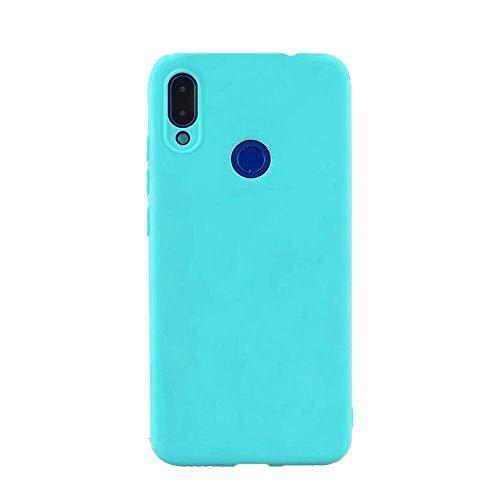 cuzz Funda para Samsung Galaxy A40+{Protector de Pantalla de Vidrio Templado} Carcasa Silicona Suave Gel Rasguño y Resistente Teléfono Móvil Cover-Azul Claro