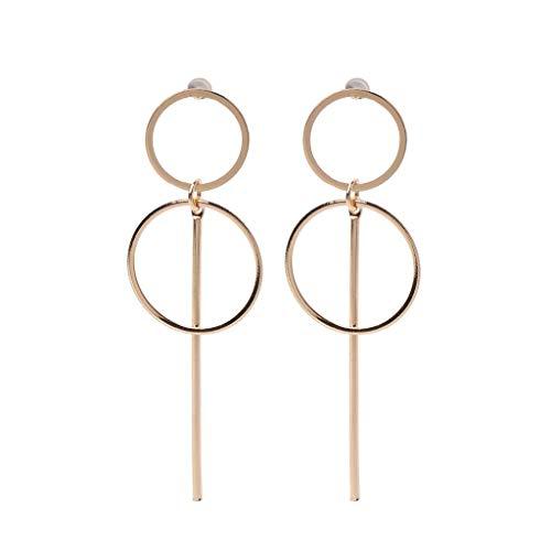 Yushu - Pendientes de círculo simples grandes y pequeños, pendientes de doble círculo coreano, pendientes colgantes geométricos, aretes de círculo, joyería femenina, regalos para mujeres