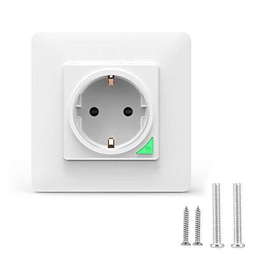 AMONIDA Interruptor de Pared con Enchufe, Interruptor de Enchufe Wi-Fi de 3.39x3.39x1.71in, Luces de Enchufe con Interruptor de Control Remoto para electrodomésticos